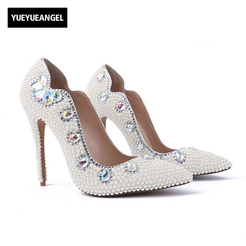 Fashion Women High Heel Shoes Comfoerable Pointed Toe Slip On Lady Crystal Pumps Bead Decoration For Women Dress Wedding Shoes