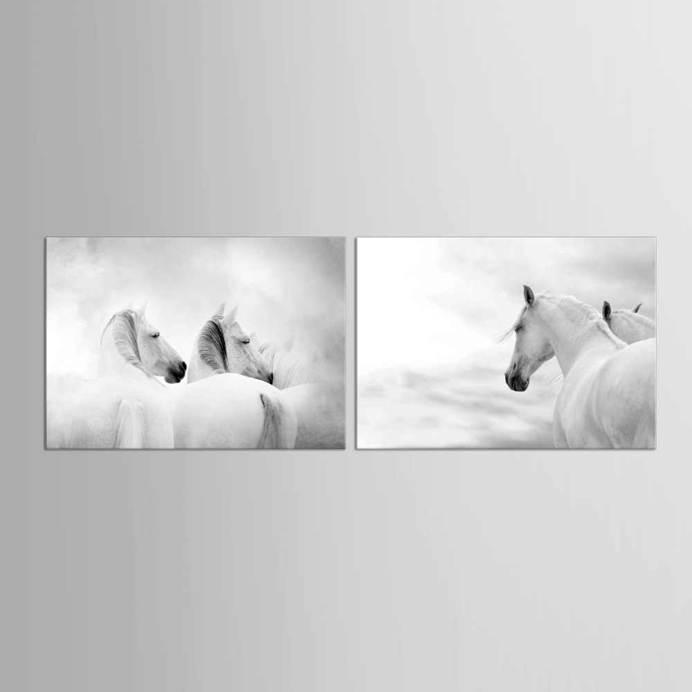 2 Panel Modern Art White Horse Picture Print Canvas Poster Wall Photography Photo Restaurant Decorative Painting