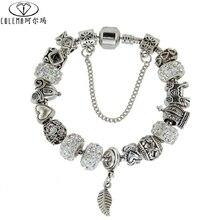 Colema Rhinestone European Beads Charm Women Bracelets Fashion Charm Bracelets Bangles For Women Jewelry With Beautiful Gift Bag