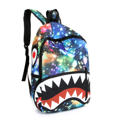 sky 3d backpack 2016 hot new fashion tide cool canvas bag men and women college wind