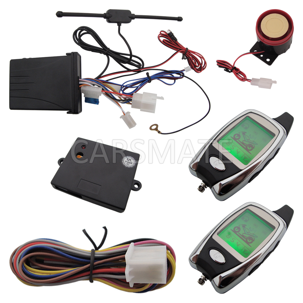 In Stock Hot Selling 2 way Motorcycle Alarm System With Remote Engine Start & Two Way LCD Colourful Remote Microwave Sensor! hot selling wireless two way keypad with lcd back light usb port to charge
