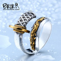 Beier new store 316L Stainless Steel Japanese samurai sword opening knife man`s ring fashion jewelry   BR8-405