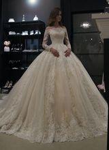 جديد رائع الكرة ثوب الزفاف فساتين الكرة ثوب خمر الدانتيل ثوب زفاف كم طويل قارب الرقبة رداء دي ماري