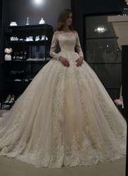 Новые великолепные Свадебные и Бальные платья вечернее платье винтажное кружевное свадебное платье длинный рукав средней длины халат de