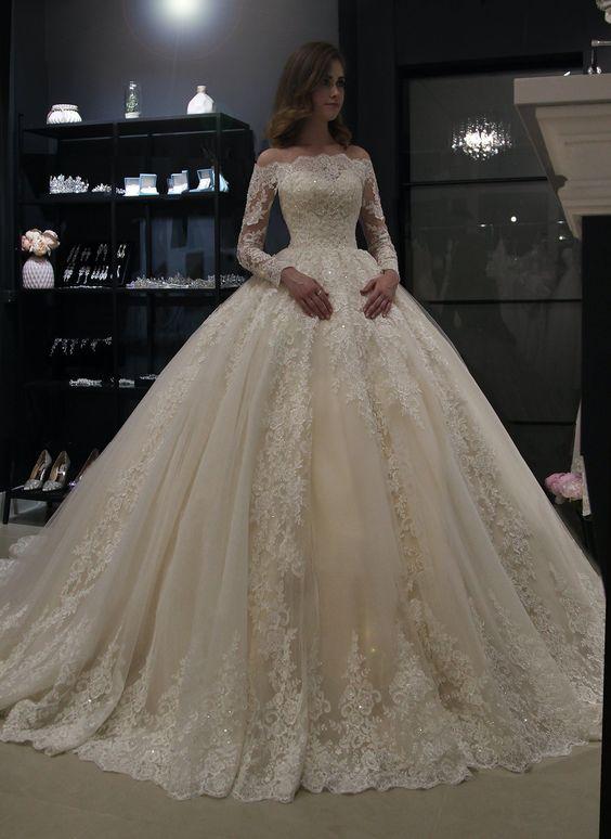 Novo lindo vestido de baile vestidos de casamento vestido de baile do vintage laço vestido de casamento manga longa barco pescoço robe de mariee