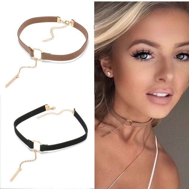 90'S Punk New Fashion 4 Colors Leather Choker Necklace Gold Color Geometry With