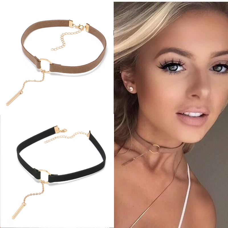 90'S Punk New Fashion 4 Colors Leather Choker Necklace Gold Plated Geometry With Round Pendant Collar Necklace For Women Girls