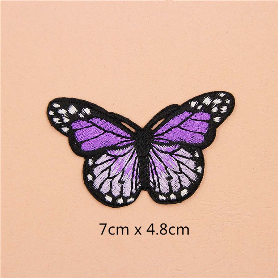 Fabric Embroidered Colored Butterfly Patch Clothes Sticker Bag Sew Iron On Applique DIY Apparel Sewing Clothing Accessories B146