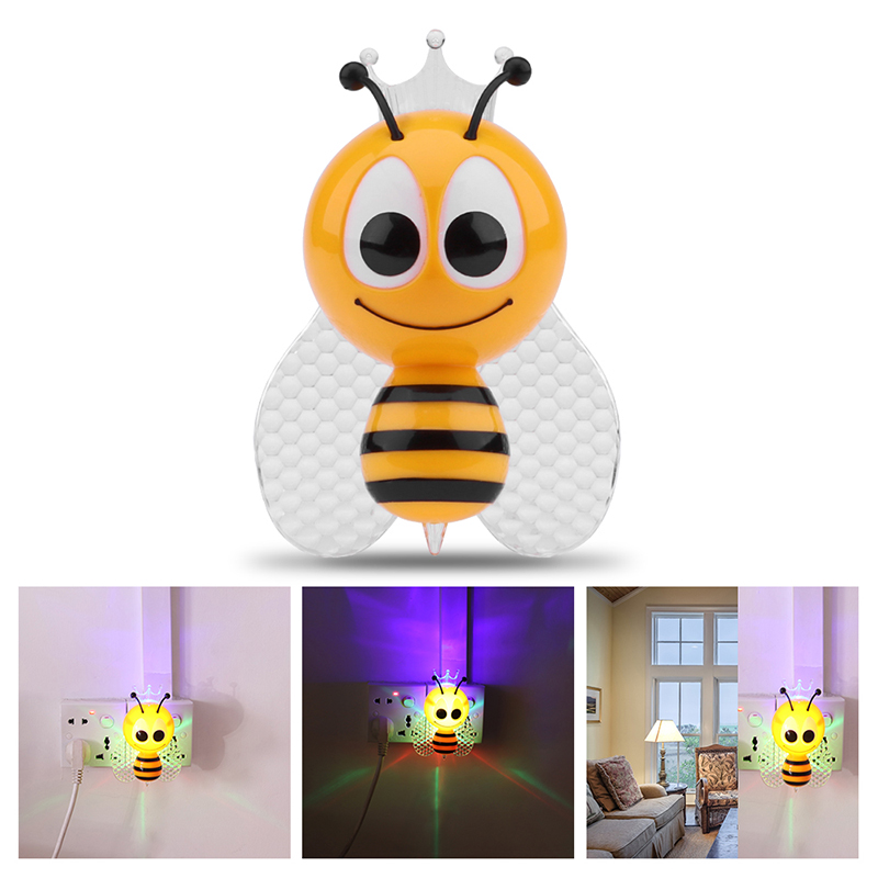 Cute Bee Light Cartoon LED Night Light Cute Colorful Bedside Lights for Baby Bedroom Childrens Gifts EU PLUG