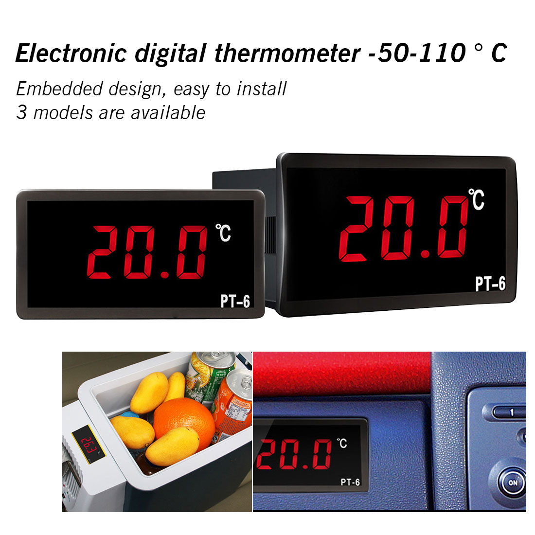 -50~110C Digital Car Thermometer Vehicle Temperature Meter Monitor 12V 24V 110V Automotive Thermometer with NTC Sensor PT-6-50~110C Digital Car Thermometer Vehicle Temperature Meter Monitor 12V 24V 110V Automotive Thermometer with NTC Sensor PT-6