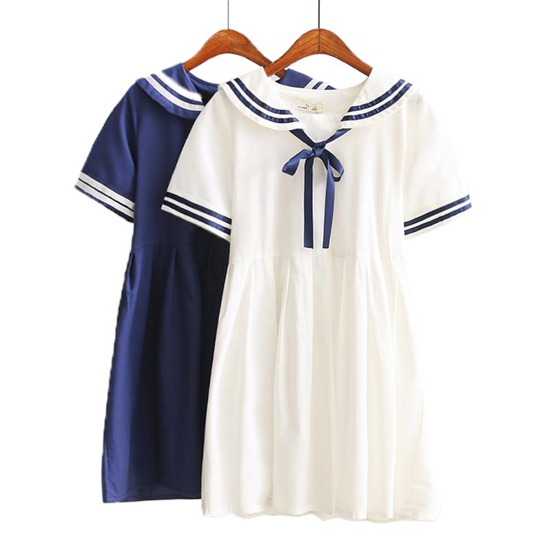 Girls School Uniforms Women Pure Cotton Summer Dress Loose Students Dresses Cute Girls Dress Plus size