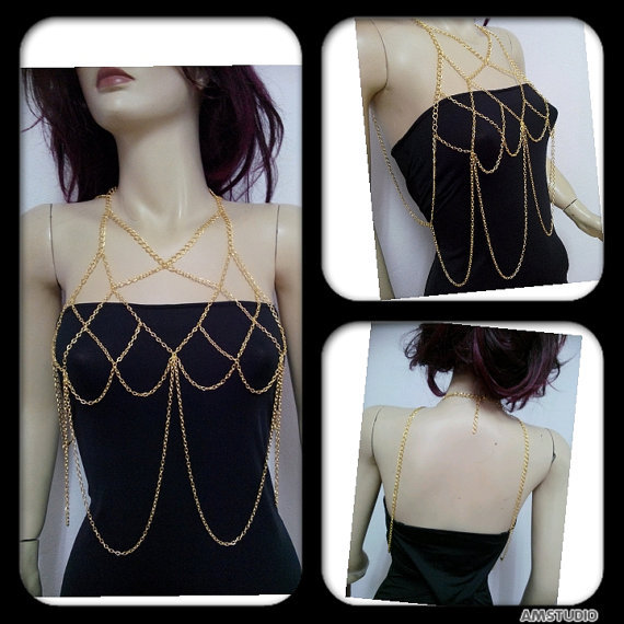 Gold Sexy Fashion Body ketting Harness Necklace Chain Halter Bra Lingerie Checker Exotic Dress Decor Body Jewelry BY76