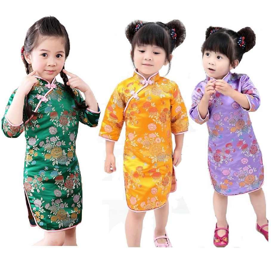2018中国の新しい年の赤ちゃんの女の子ドレストリビュートシルク子供伝統袍子供チャイナガールドレス服vestidosトップス
