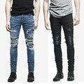 2017 Nueva HipHop Hombres Diseño Original Agujero Pantalones Basculador Pantalones de Alta Calidad pantalones vaqueros destruidos flacos Ocasionales acanalada Negro, azul 30-36