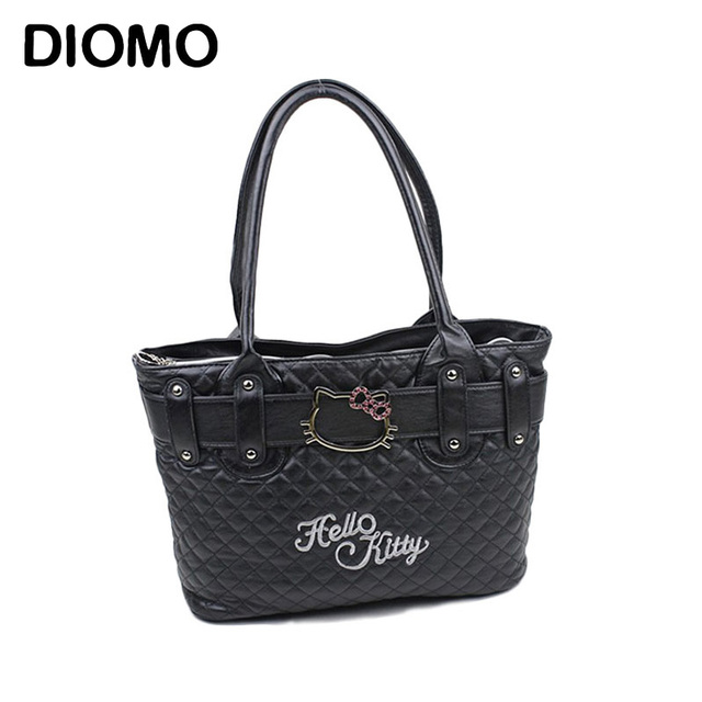 Diomo Hello Kitty Bag Women S Handbag Cartoon Tote Bags Quilted Diamond Lattice Sac Femme