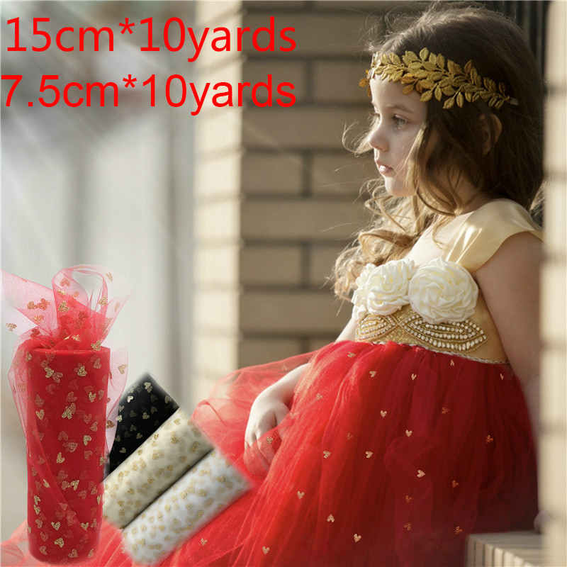 Home & Garden Festive & Party Supplies Industrious Glitter Tulle 7.5/15cm*10y Love Heart Organza Tulle Rolls Tutu Fabric Wedding Decoration Birthday Party Kids Favors Baby Shower