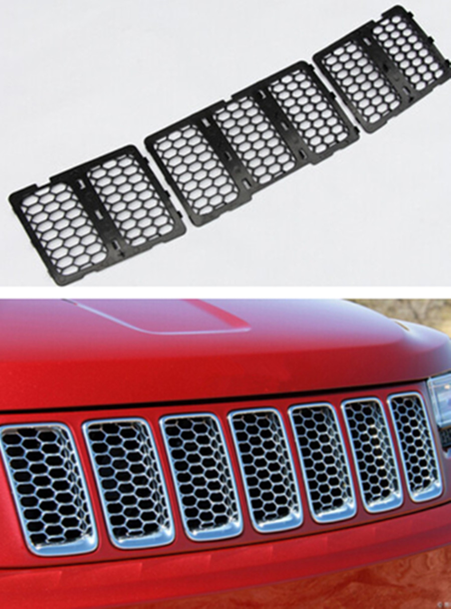 Black & Silver Chrome ABS Honeycomb Grill Grille Inserts Cover Trim For Grand Cherokee 2014 2015 abs chrome front head light eyelid cover trim for jeep grand cherokee 2014 2015