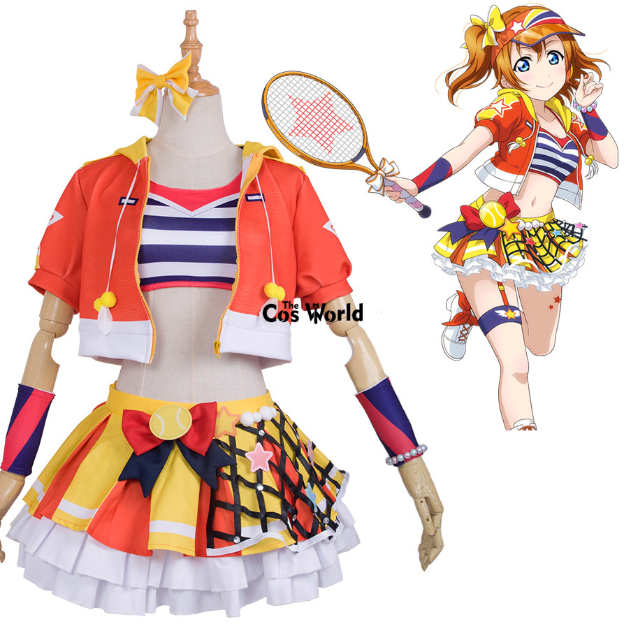 Love Live School Idol Project Kousaka Honoka Tennis Boob Tube Tops Hoody Coat Dress Uniform Outfit Anime Cosplay Costumes