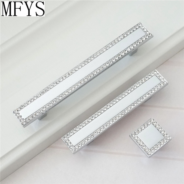 Square Rhinestone Drawer Pull / Glass Crystal Dresser Pulls Handles Cabinet  Knobs / Handle Bling Silver