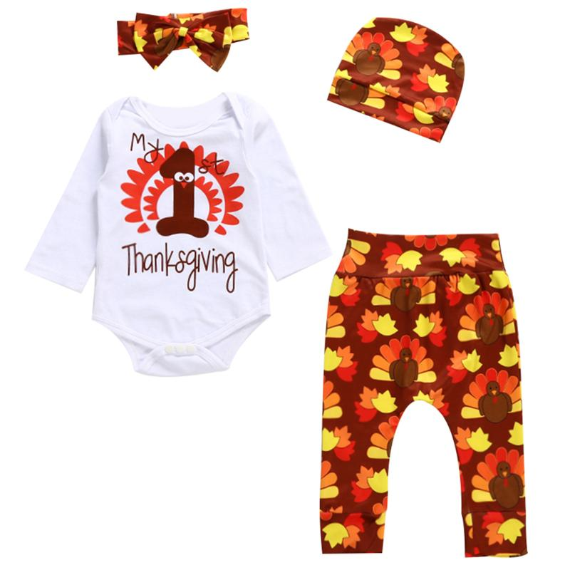 4pcs Newborn Infant Clothing Set Thanksgiving Day Baby Boys Girls Tops T-shirt + Pants + Hat + Headband Bodysuit Outfits Set