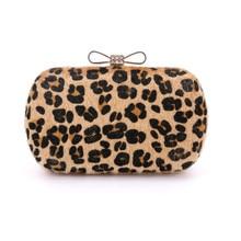 2016 leopard kupplung bogen knoten verschluss abendtaschen parteibeutel Handgemachte Clutches handtasche Party Handtasche frauen mini tasche 2 farben