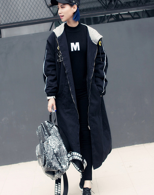 [XITAO] 2016 estilo de La Calle nueva de la llegada del invierno de las mujeres suelta color sólido todo-juego de largo con capucha de algodón acolchado ropa DFM002