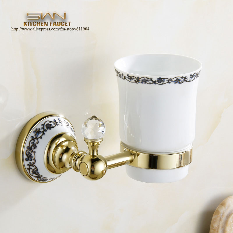 ФОТО Luxury European Golden Copper Toothbrush Tumbler&Cup Holder Wall Mount Bath Product Single cup 3A71911