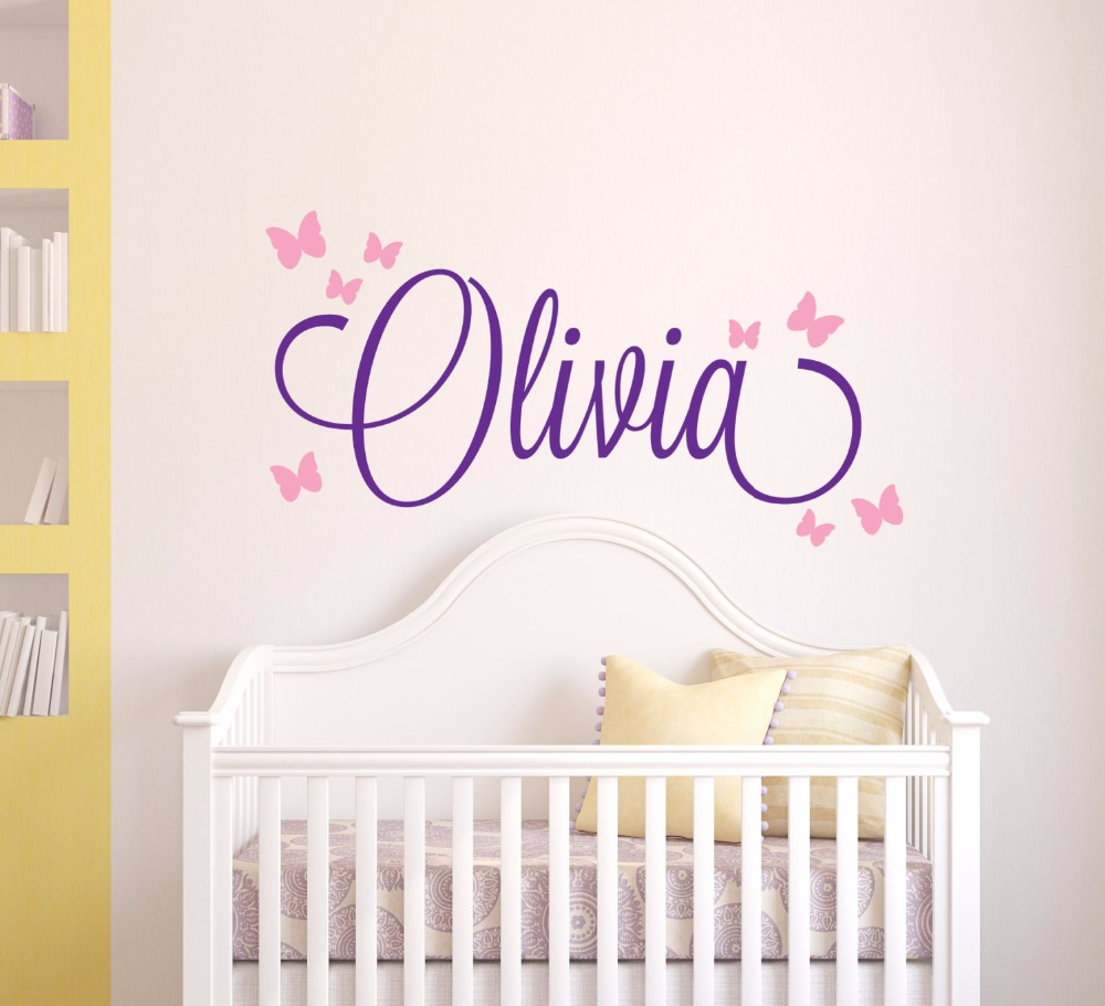 Butterfly Name Wall Sticker Personalized Custom Name Wall Decal Girls  Bedroom Decor Nursery Home Decor Adesivo Part 42