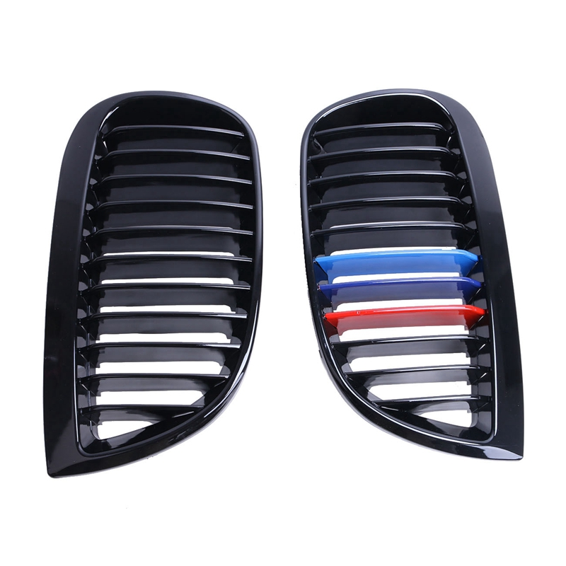ФОТО 2pcs Gloss Black M Color Front Kidney Grille Grill For BMW E81 E87 116i 118i 120i M-sport Model CAR-P287 //