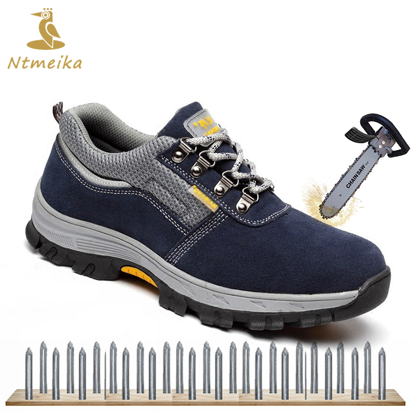 Plus Size 36-46 Men Cow Suede Safety Shoes Steel Toe Steel Insole Breathable Safety Boots Men Puncture-proof Casual Work Shoes купить недорого в Москве