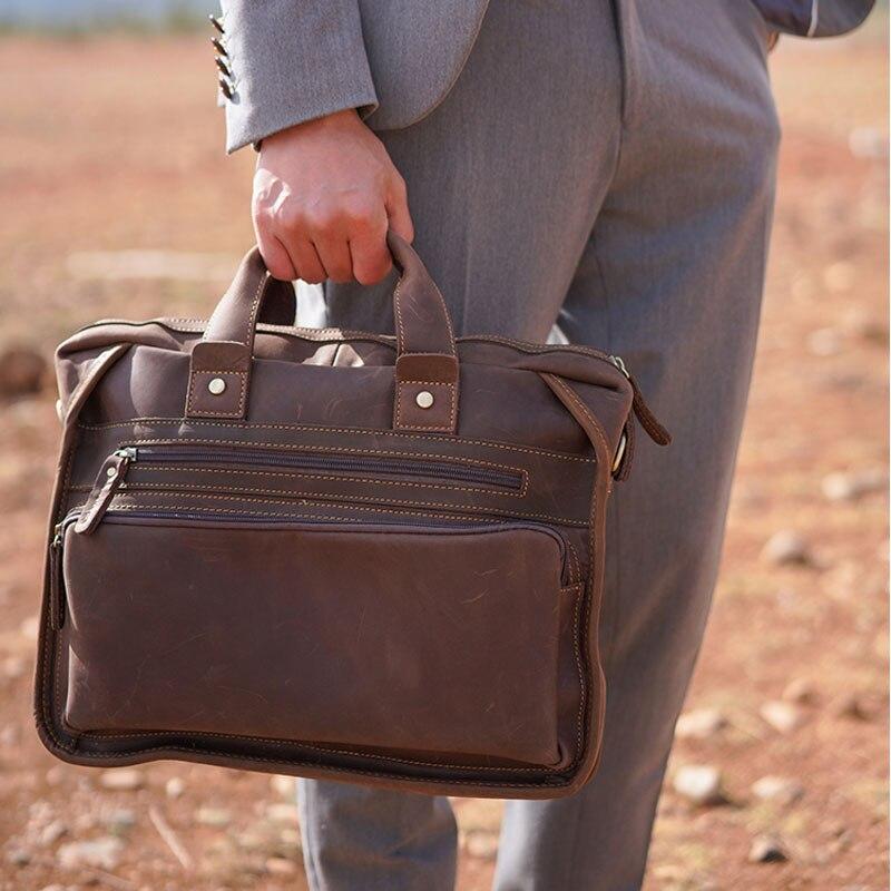 Luufan Retro Top Grade Handmade Leather Men Male Briefcase Old Fashion Cowhide Computer Bag With Shoulder Strap Handbag Dual Use