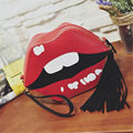 Hot Sexy Red Lips Shaped Day Clutch Women Fashion Design Tassel Leather Handbag Casual Cross Body Shoulder Bag Purse Bolso H478