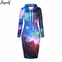 Joyonly Women Space Galaxy Star Universe Colorful 3D Printing Hoodies Dress 2017 Woman Sweatshirt Hooded Sexy Night Club Dresses