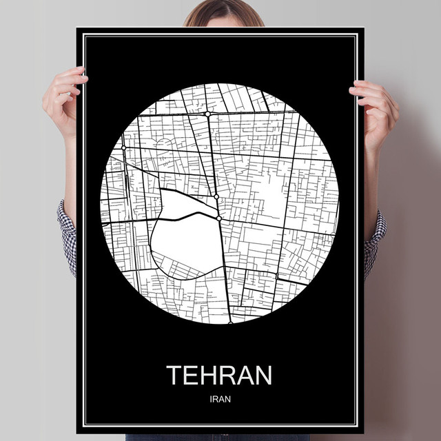 Black White City Map Of TEHRAN Iran Print Poster On Paper Or Canvas Wall Sticker
