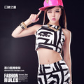 2014 New Fashion hip hop Street dancer female Jazz costume performance wear set  eye patten Clothing set Sexy s Vest & legging
