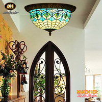Makenier Vintage Tiffany Mediterranean Style Peacock Blue Stained Glass Flush Mount Ceiling Lamp 12 Inches Lampshade