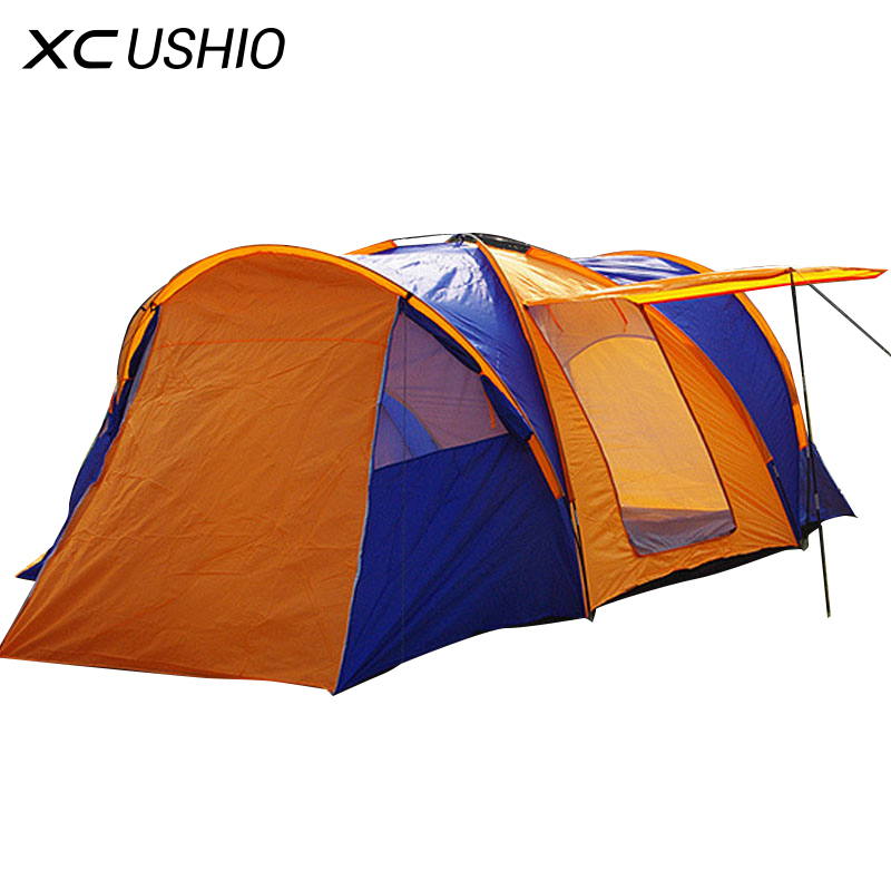 High Quality 9 Person Large Space Outdoor Waterproof Camping Tent 3 Room 1 Hall Mosquito Net Family Tents for Party Low Price authentic august 4 8 person outdoor camping 1hall 1bedroom anti rain wind big traveling camping tent in good quality large space