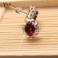 The Supply Of New 925 Silver Plated Rose Gold Inlaid Garnet Earrings Earrings Factory Direct Wholesale