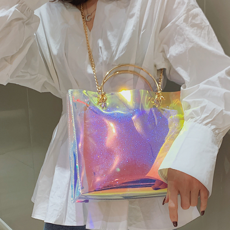 Laser Transparent Bag 2019 Summer Fashion New Quality PVC Women's Designer Handbag Large Tote Bag Chain Shoulder Messenger Bags