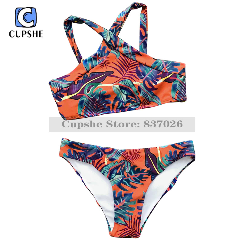 Cupshe Leaves at Sunset Bikini Set Women Summer Sexy Swimsuit Ladies Beach Bathing Suit swimwear cupshe heated love in desert cross back bikini set women summer sexy swimsuit ladies beach bathing suit swimwear