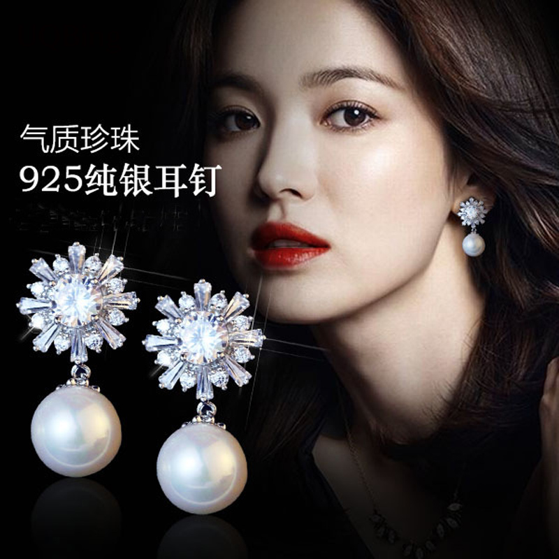 Crystal Flower Stud Earrings Fashion Pure 925 Silver Stud Earrings With Pearl Jewelry Pendientes Brincos Fashion Jewelry 925 female fashion earrings korean tremella nail earring japan hypoallergenic flower pearl earrings jewelry