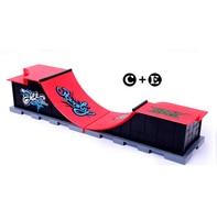 Free Shipping Model C+E Mini Finger Skateboard Park Ramp Skatepark Includes 2 Finger Board Double Arc Chute Shape