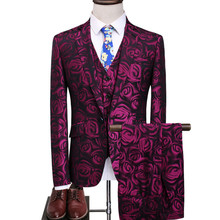 (jacket + waistcoat trousers) men business casual fashion printed tuxedo wedding dress suit coat stage performance s-5 xl