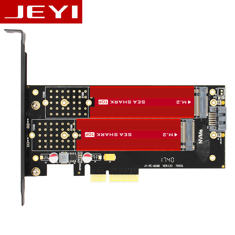 JEYI SK7 Plus M.2 NVMe SSD NGFF À PCIE3.0 X4 4X adaptateur M Clé B CLÉ À Double interface carte PCI-E3.0 Double tension 12 V + 3.3 V SATA U.2