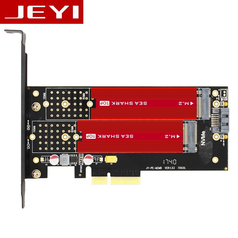 JEYI SK7 Plus M.2 NVMe SSD NGFF TO PCIE3.0 X4 4X adapter M Key B KEY Dual interface card PCI-E3.0 Dual voltage 12V+3.3V SATA U.2