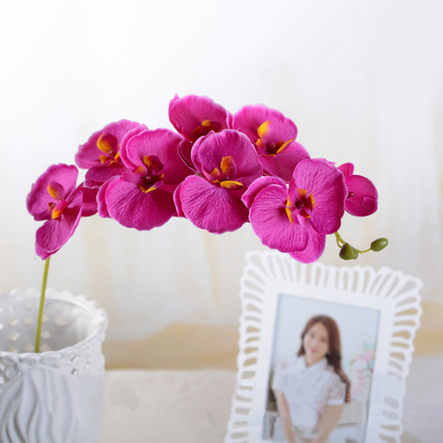 Multi Flower Heads Artificial Simulation Flower Butterfly Orchid ...