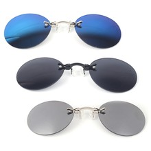 Retro Sunglasses Round Vintage Unisex Eyewear Mirror Nose Clip Mini Metal Goggle for men(China)
