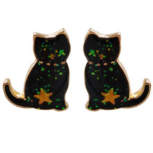Fashion Perhiasan Aksesoris Enamel Logam Kucing BTS Korea Anting-Anting(China)