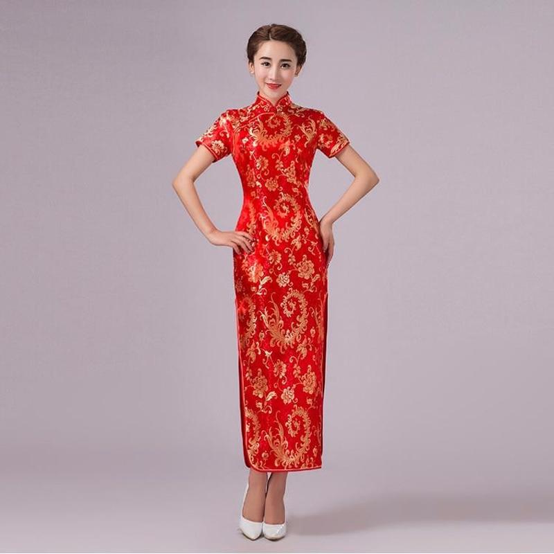 Us 19 07 45 Off Nieuwe Aankomst Rode Traditionele Chinese Trouwjurk Vrouwen Zijde Satijn Qipao Lange Cheongsam Formele Maat Sml Xl Xxl 020711 In