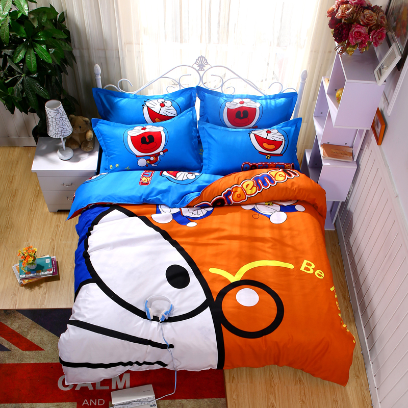 Hot Sale Cartoon Japan Doraemon Bedding Set for Kids Gift Coton tBed Linen bedclothes Duvet Cover Set with bed Sheet Pillowcases
